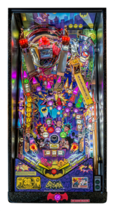 A Hall of Fame pinball development team created the all new Anniversary Edition machine. The project was inspired by Joe Kaminkow of Ka-Pow Pinball and spearheaded by Stern Pinball product development chief, George Gomez, who, along with renowned programmer, Lyman Sheats, brought the game to life.