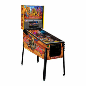 All models include twelve Iron Maiden songs with players going to battle as Eddie with the help of four flippers, two spinners, a set of 3-bank drop targets, metal and wireform ramps, a captive ball mechanism, a dual up-post lock mechanism, and a center bullseye target.