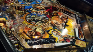 This playfield's clear coat really shines in the light.