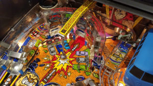 Here's a detail of the wreacking ball - a suspended pinball on a chain used to hit car targets!
