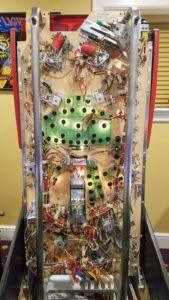 The underside of the playfield tells us that this game got little to no commercial use and is in outstanding condition.